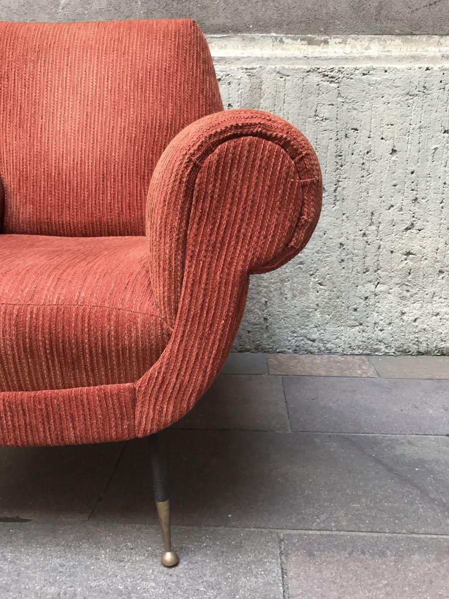 Vintage Orange Corduroy Armchairs Set Of 2 For Sale At Pamono