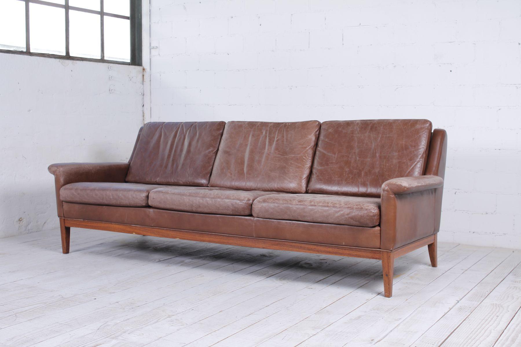canap mid century scandinave en cuir 1960s en vente sur pamono. Black Bedroom Furniture Sets. Home Design Ideas