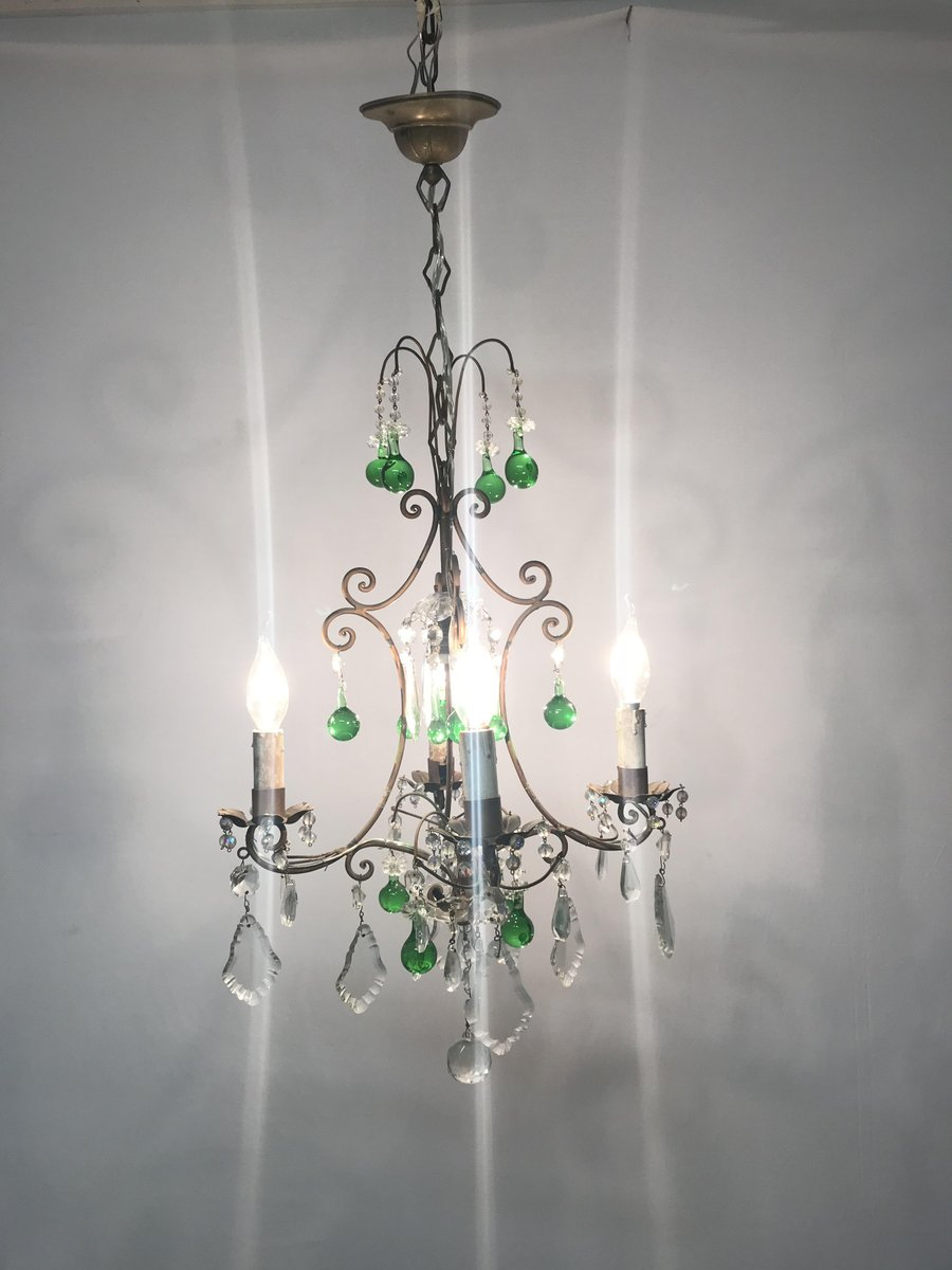 Vintage italian crystal chandelier with green murano glass drops for vintage italian crystal chandelier with green murano glass drops for sale at pamono mozeypictures Images