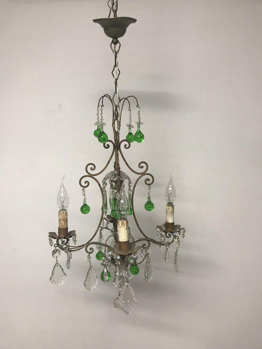 Vintage italian crystal chandelier with green murano glass drops for vintage italian crystal chandelier with green murano glass drops for sale at pamono arubaitofo Choice Image