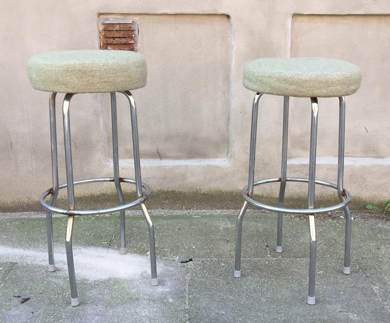 bar stools in steel & green woolbörje johanson, 1970s, set of 2 1970s Bar Stools