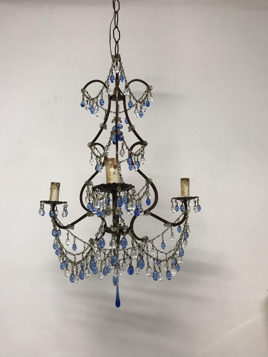 Vintage italian crystal chandelier with murano glass blue pendants vintage italian crystal chandelier with murano glass blue pendants aloadofball Image collections