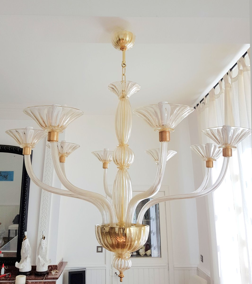 Murano Glass Chandelier Large: Large Clear & Gold Murano Glass Chandelier, 1970s For Sale