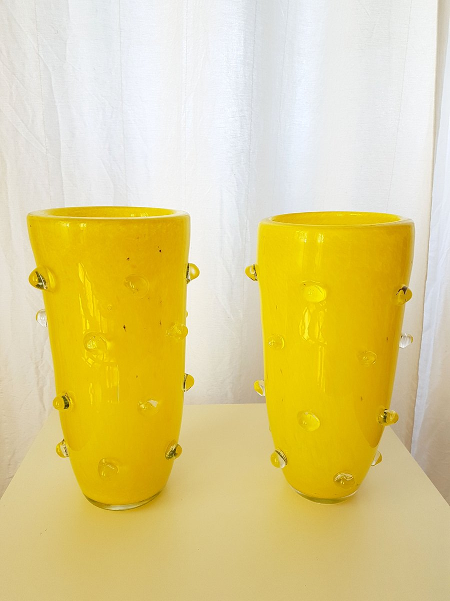 Yellow Murano Glass Vases, 1980s, Set of 2 for sale at Pamono