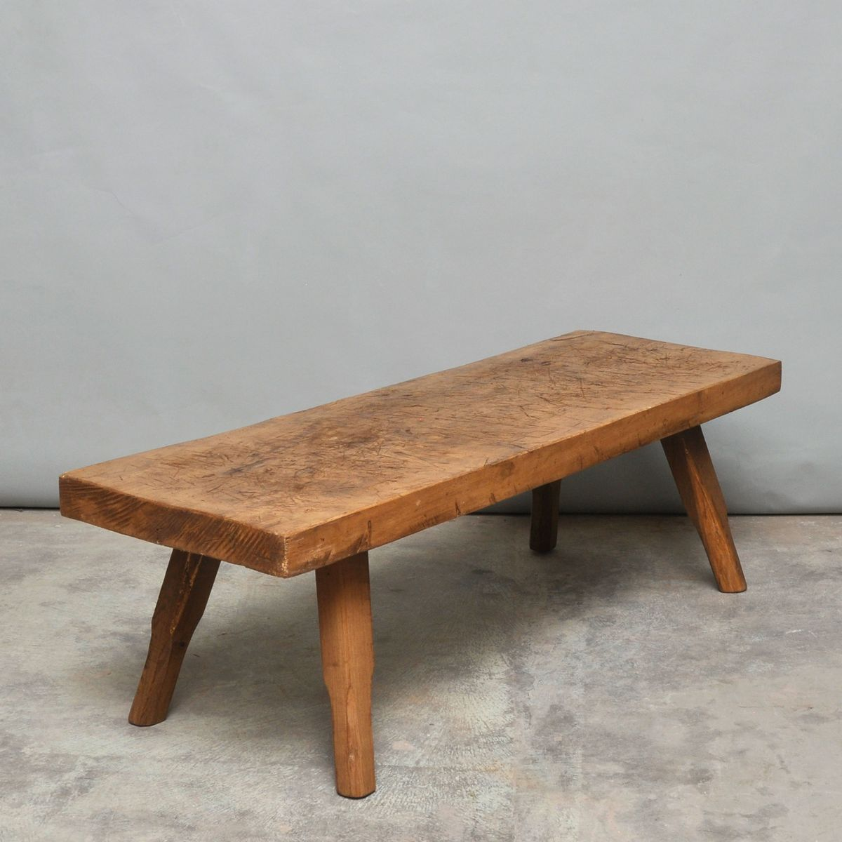 Vintage Oak Butchers Block Coffee Table or Bench 1930s for sale at