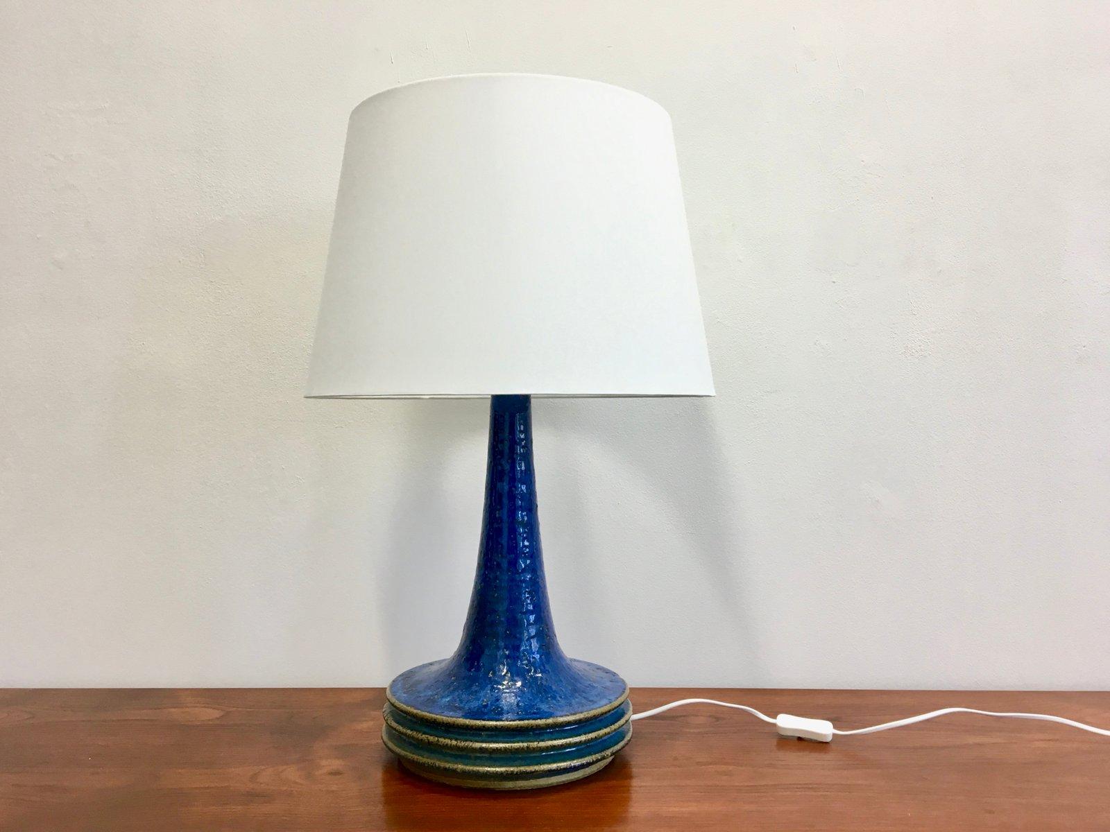 Mid Century Danish Blue Ceramic Table Lamp By Axella For Tromborg, 1970s