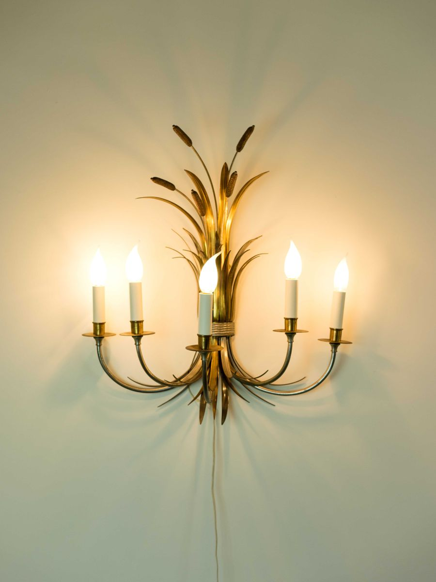 Large Reed Sheaf Wall Sconces from Maison Charles, 1950s, Set of 2 ...
