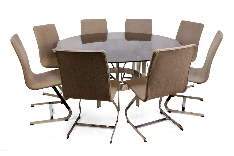 Juego de mesa de comedor vintage con ocho sillas de Merrow ...