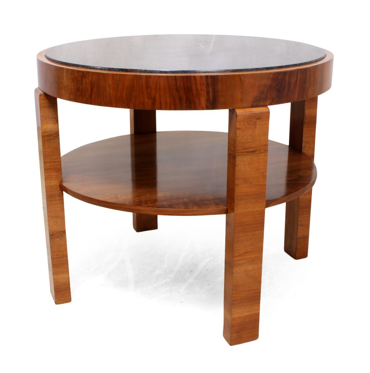 walnut coffee table. Art Deco Walnut Coffee Table With Marble Top, 1930s