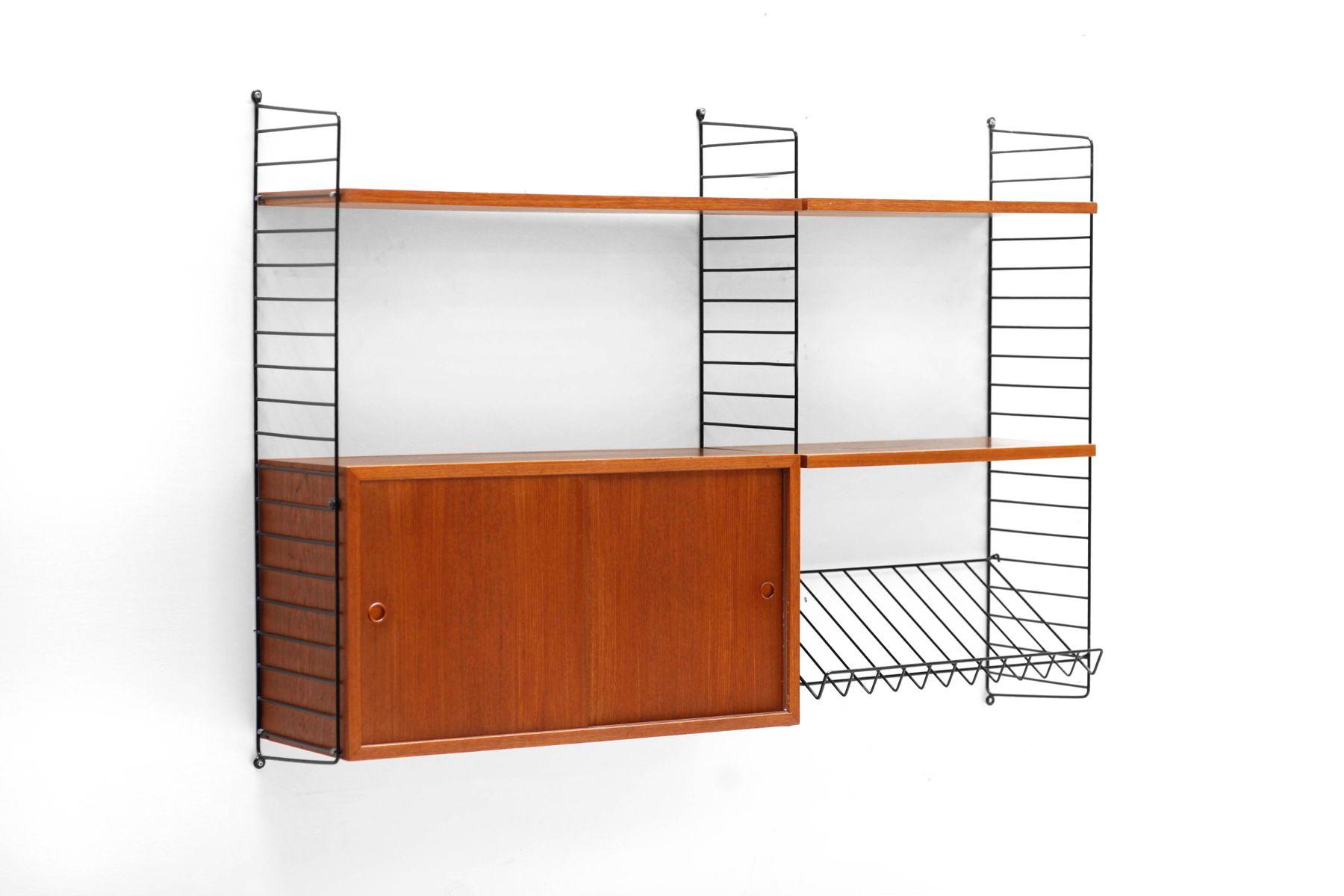 Nisse Strinning teak wall unit from kajsa nisse strinning for string 1960s for
