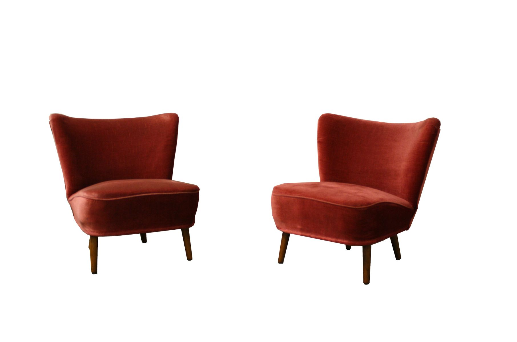 Vintage Red Fabric Cocktail Chairs, 1960s, Set Of 2