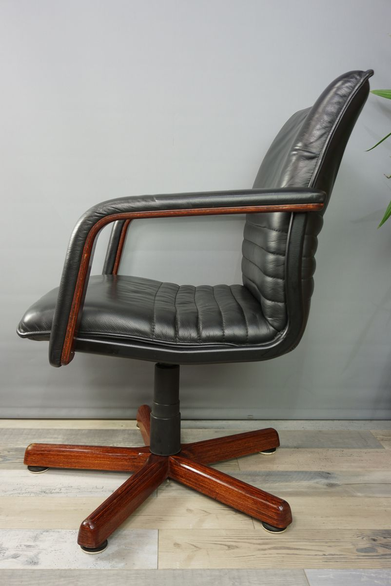 wooden swivel desk chair. French Leather \u0026 Wood Swivel Office Chair, 1960s Wooden Desk Chair M