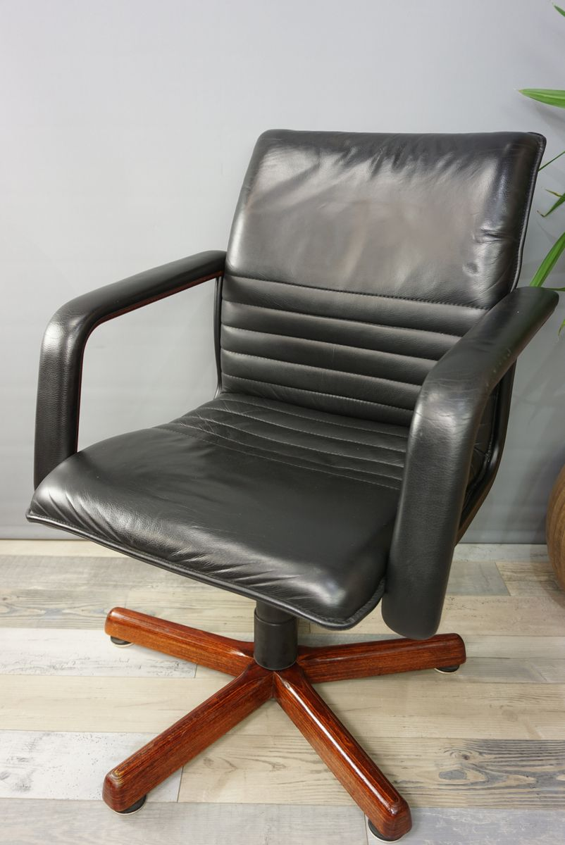 french leather wood swivel office chair 1960s for sale at pamono. Black Bedroom Furniture Sets. Home Design Ideas