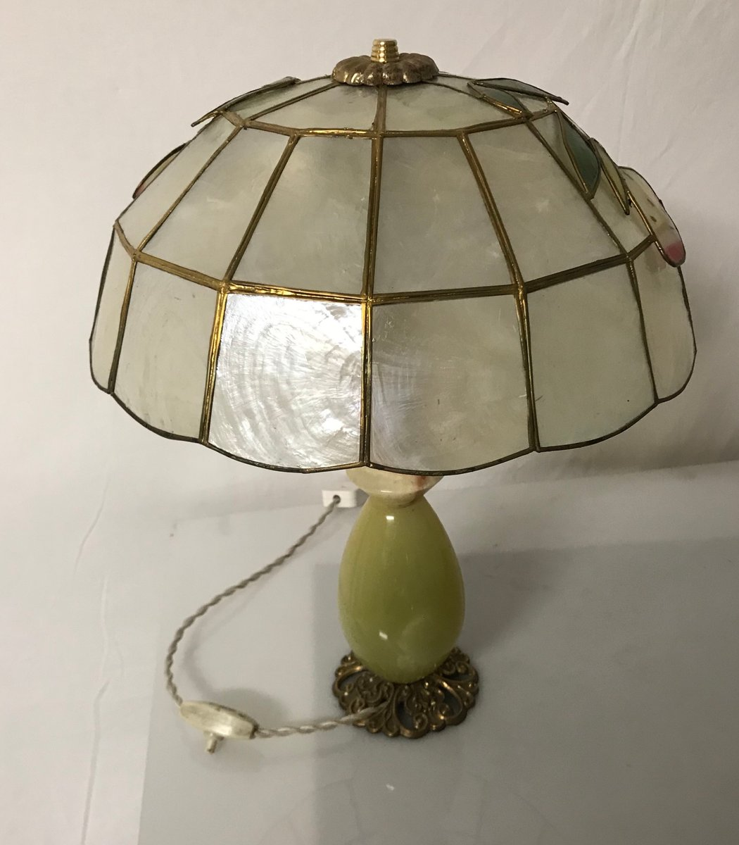 Vintage italian green onyx stone table lamps set of 2 for sale at price per set mozeypictures Images
