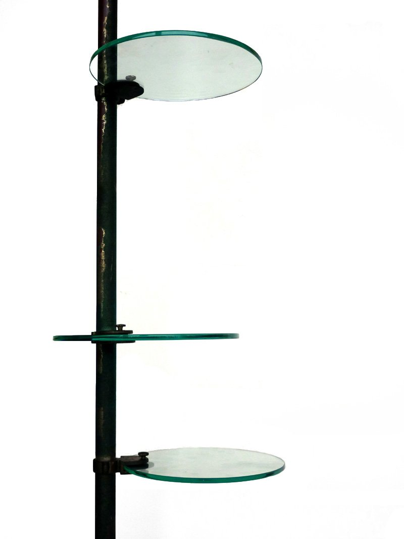 Vintage industrial floor lamp with glass shelves for sale at pamono vintage industrial floor lamp with glass shelves 8 114700 price per piece aloadofball Image collections
