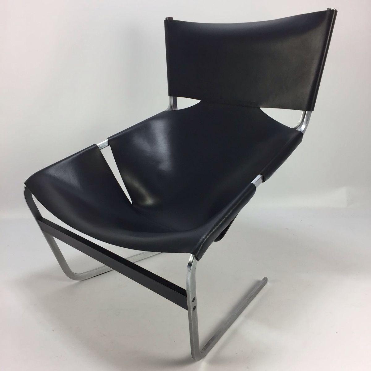 schwarzer vintage modell f444 sessel von pierre paulin f r. Black Bedroom Furniture Sets. Home Design Ideas