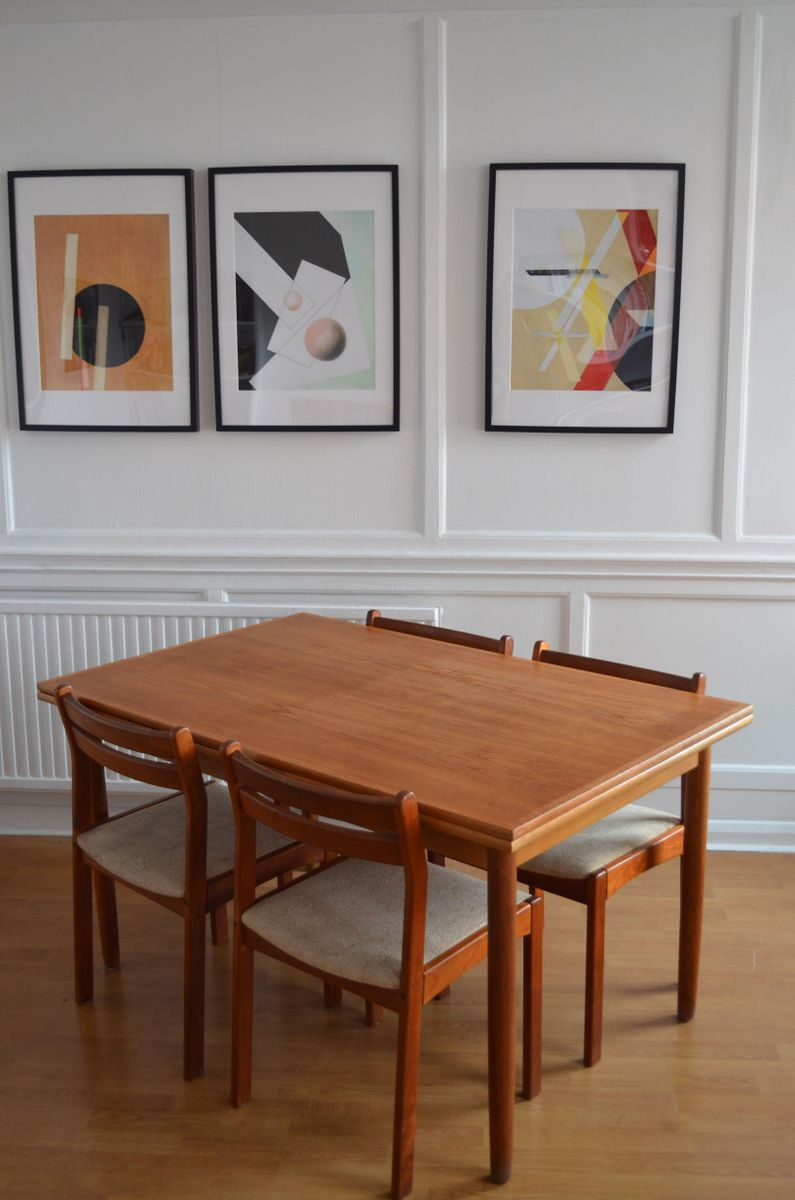 Mid Century Teak Dining Room Set With Extendable Table