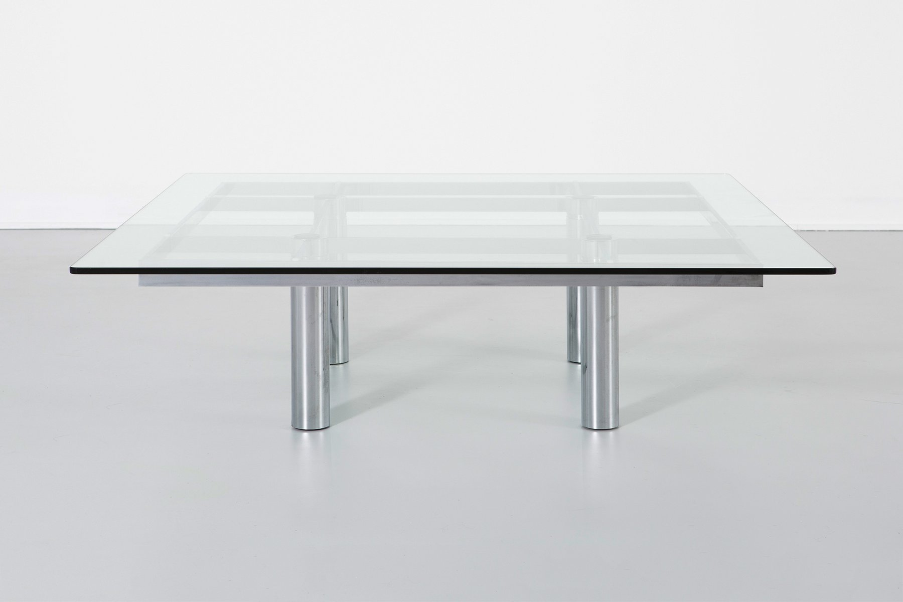 Vintage Square Gl Chrome Coffee Table For At Pamono