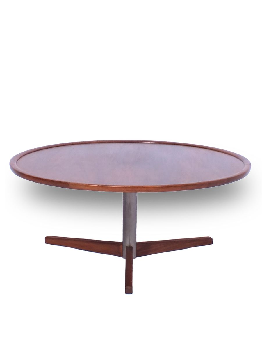 Vintage round teak and metal coffee table by martin visser for Table 00 martin szekely