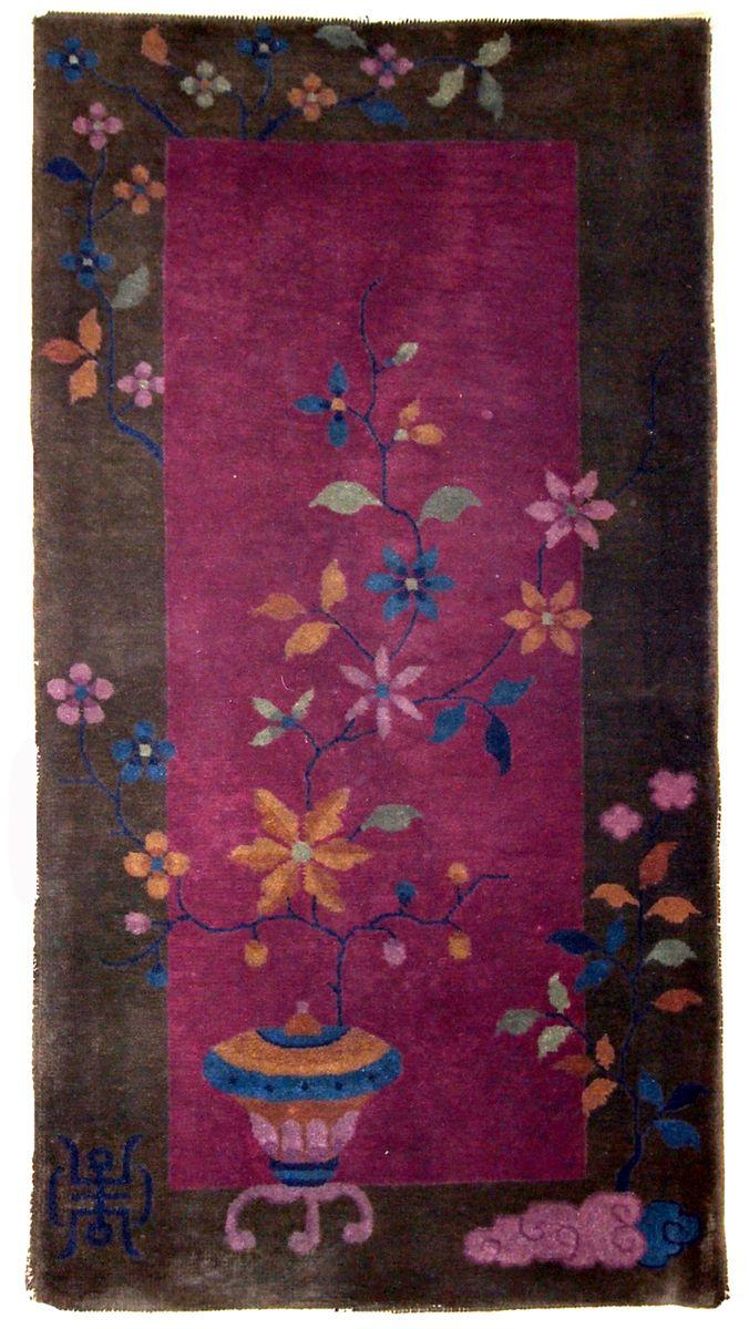 handgearbeiteter chinesischer art deco teppich 1920er bei pamono kaufen. Black Bedroom Furniture Sets. Home Design Ideas