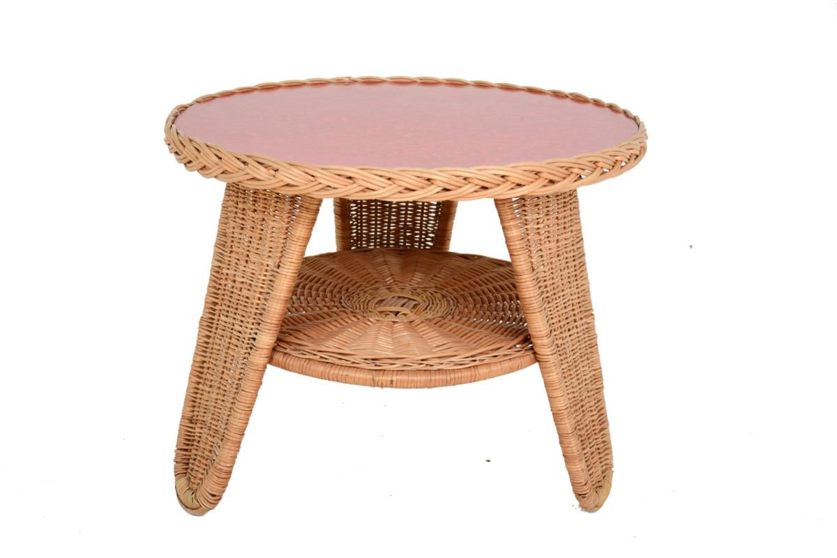 Rattan red melamine coffee table 1960s