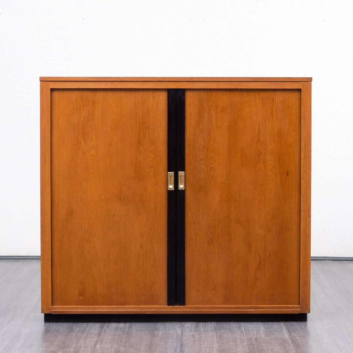 Industrial Oak Cabinet With Sliding Doors 1950s For Sale At Pamono