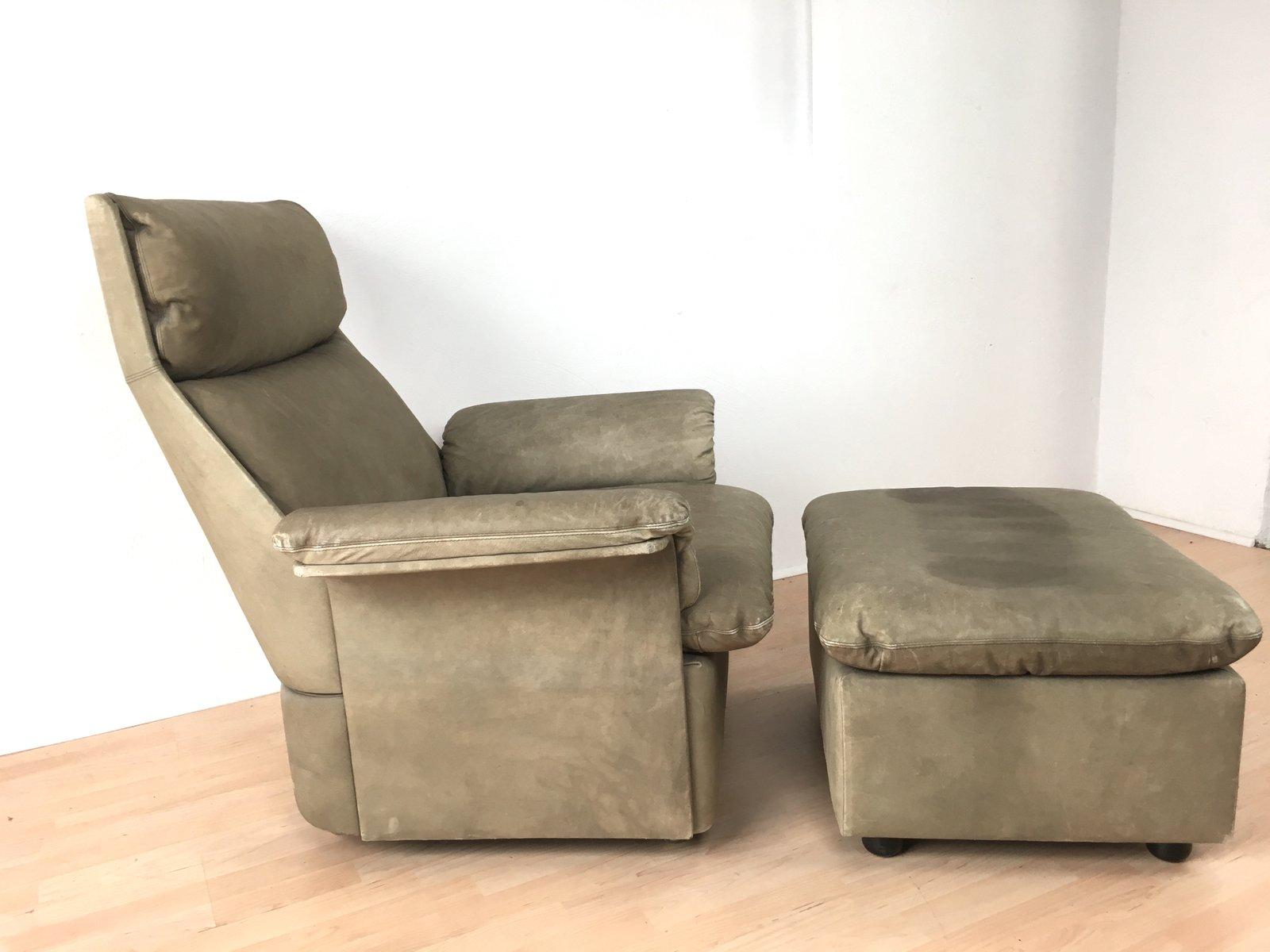sessel und ottomane set aus leder von de sede 1960er bei. Black Bedroom Furniture Sets. Home Design Ideas