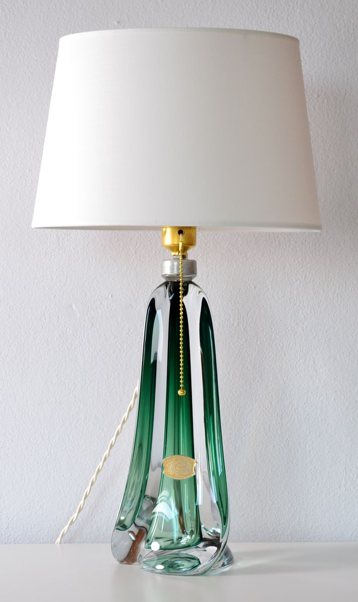 Belgian Emerald Green Crystal Glass Table Lamp From Val St. Lambert, 1960s