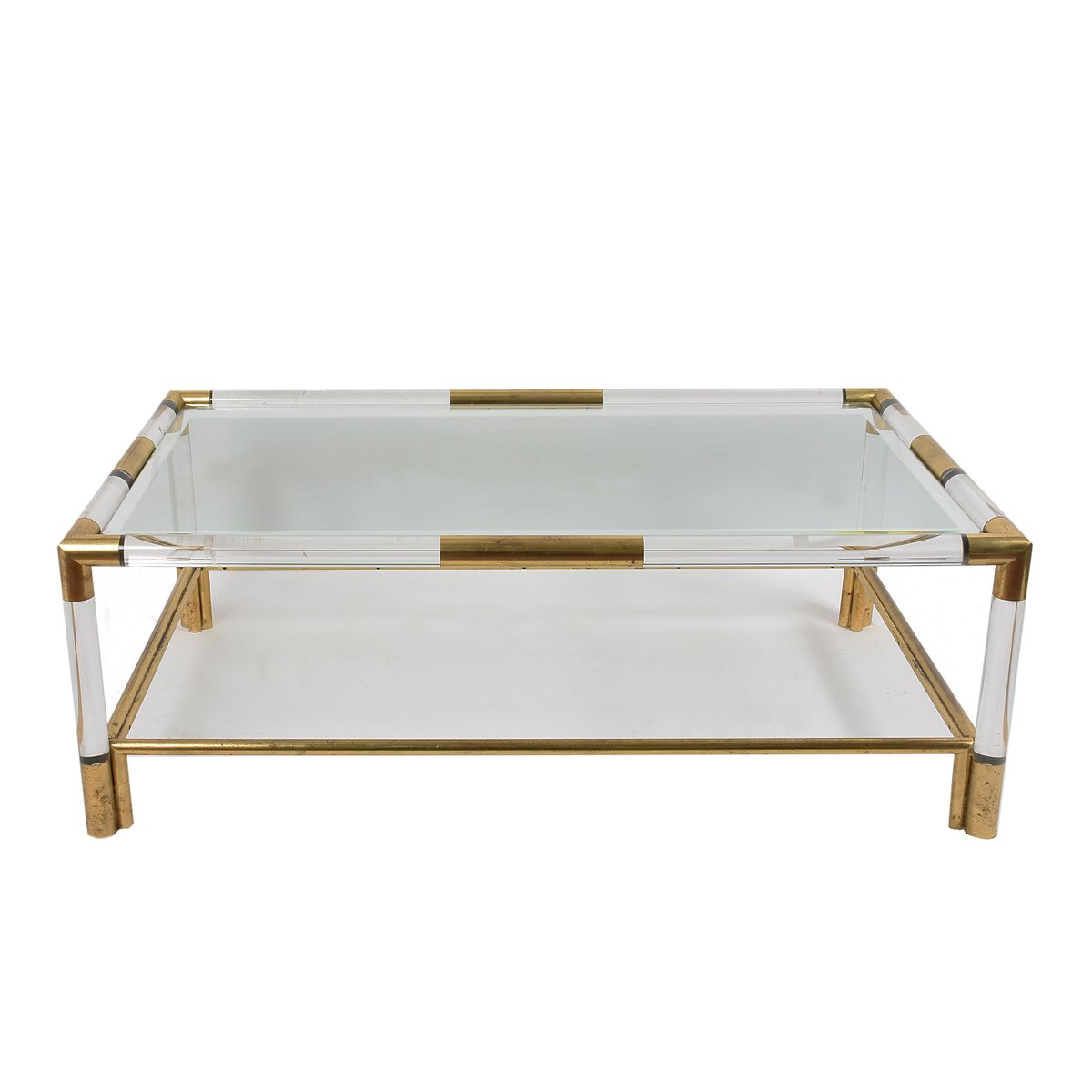 Coffee table in lucite brass 1970s for sale at pamono for Lucite and brass coffee table