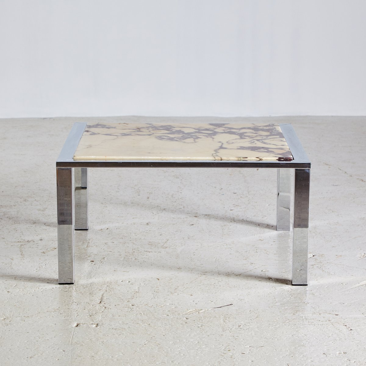 Marble And Chrome Coffee Table: Marble Top & Chrome Framed Coffee Table, 1970s For Sale At