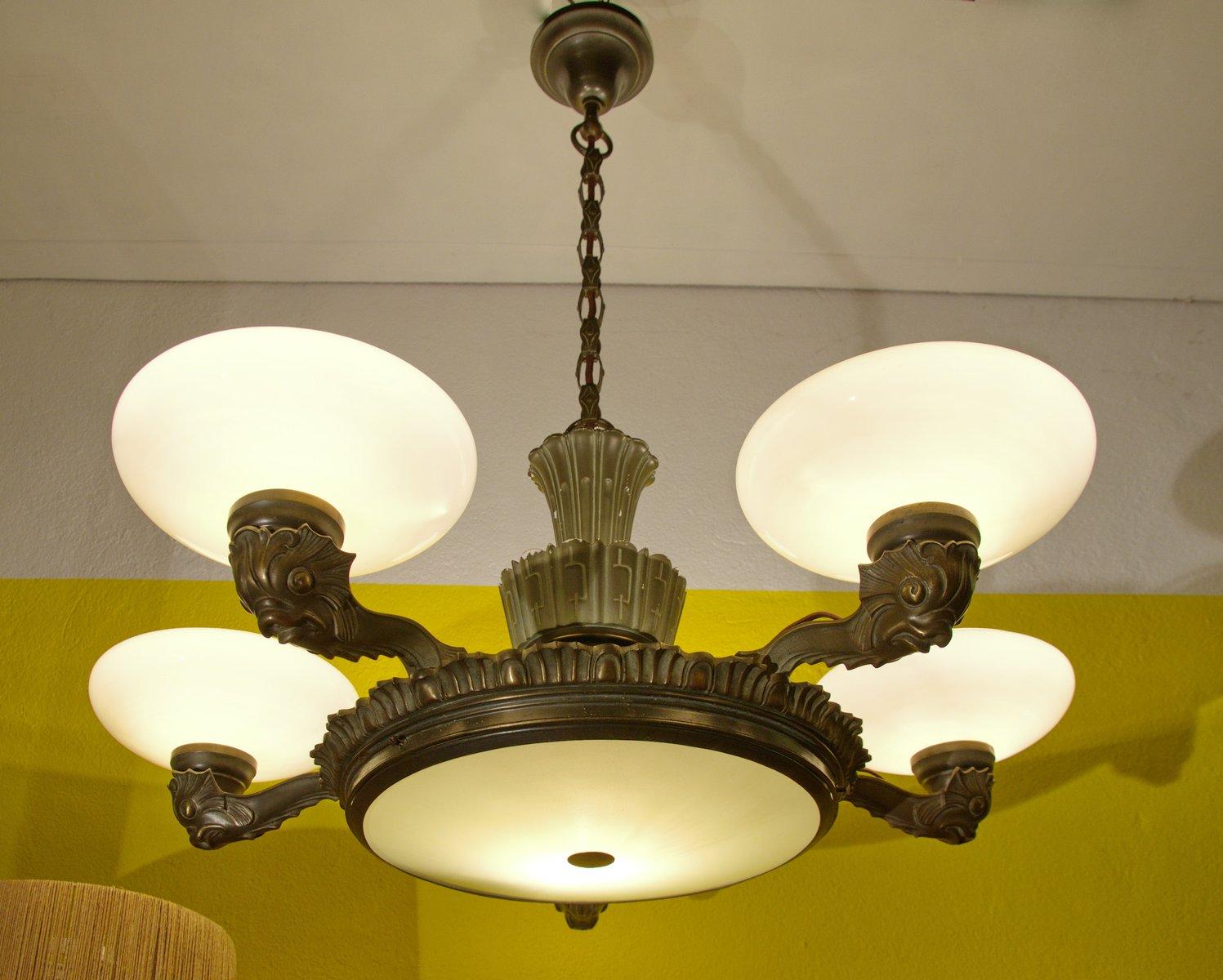 Bronze porcelain chandelier 1910s for sale at pamono bronze porcelain chandelier 1910s arubaitofo Gallery