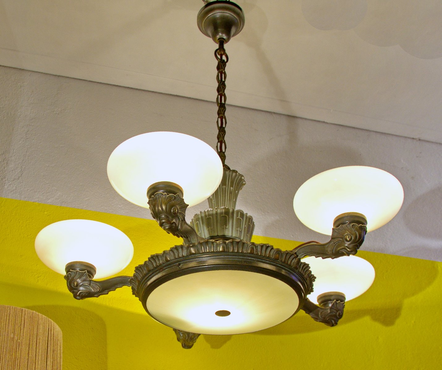 Bronze porcelain chandelier 1910s for sale at pamono 142800 arubaitofo Gallery