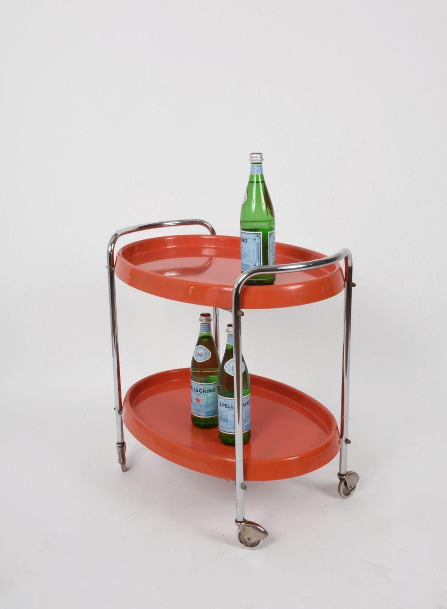 orangefarbener vintage servierwagen 1950er bei pamono kaufen. Black Bedroom Furniture Sets. Home Design Ideas