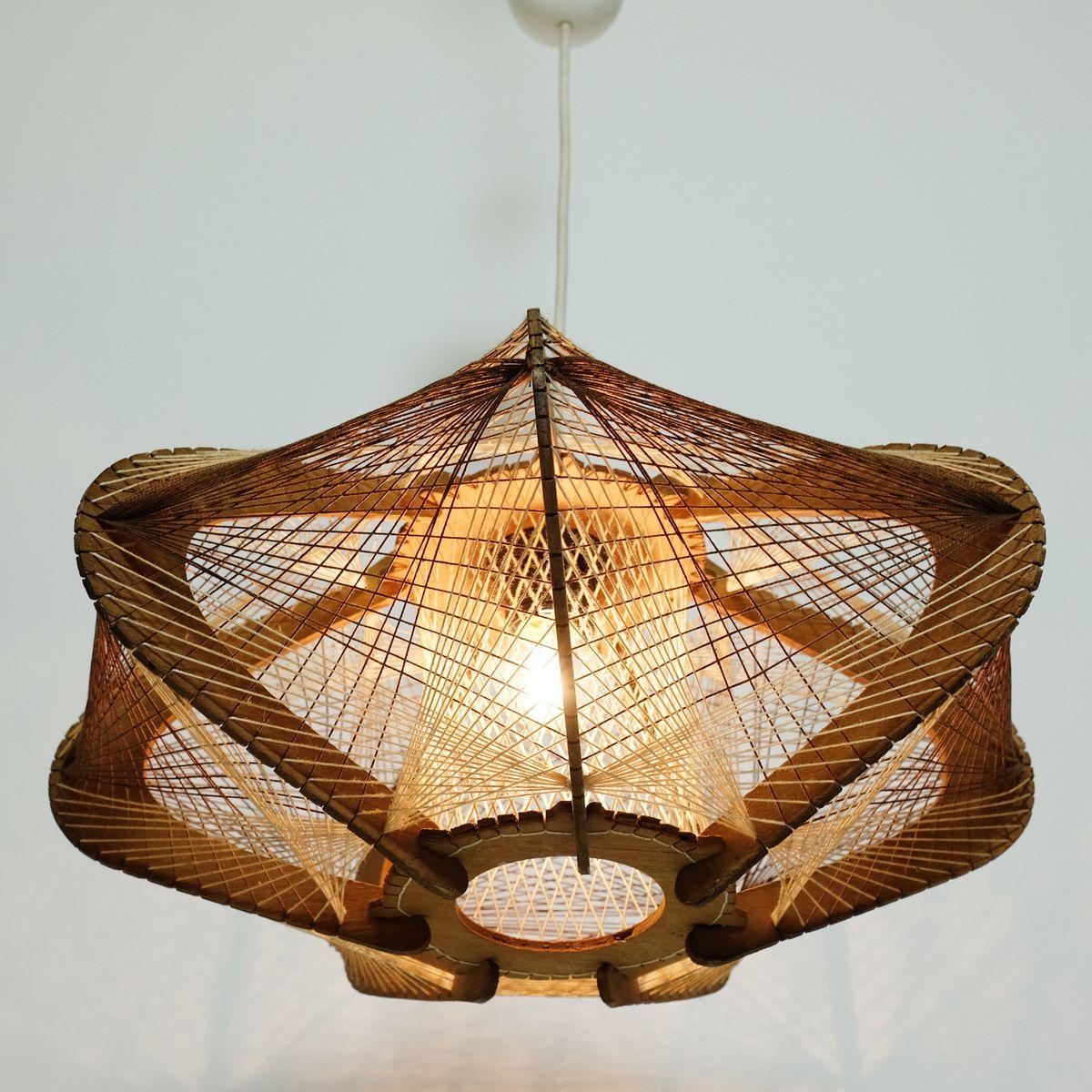 Cordelette1960s En Suspension Lampe À Boisamp; 2HWDIE9Y
