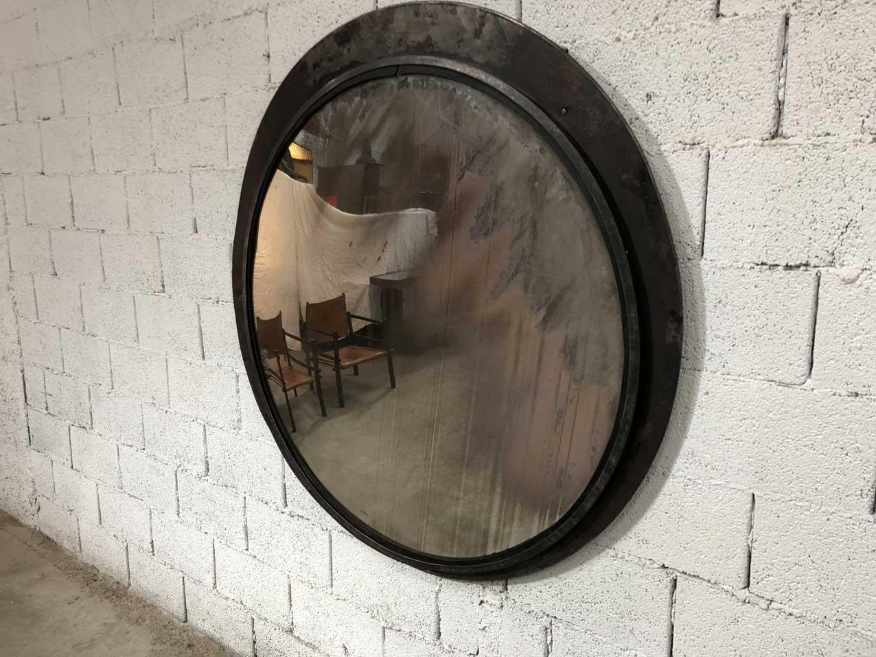 gro er vintage convex spiegel mit eingelegtem rahmen bei. Black Bedroom Furniture Sets. Home Design Ideas