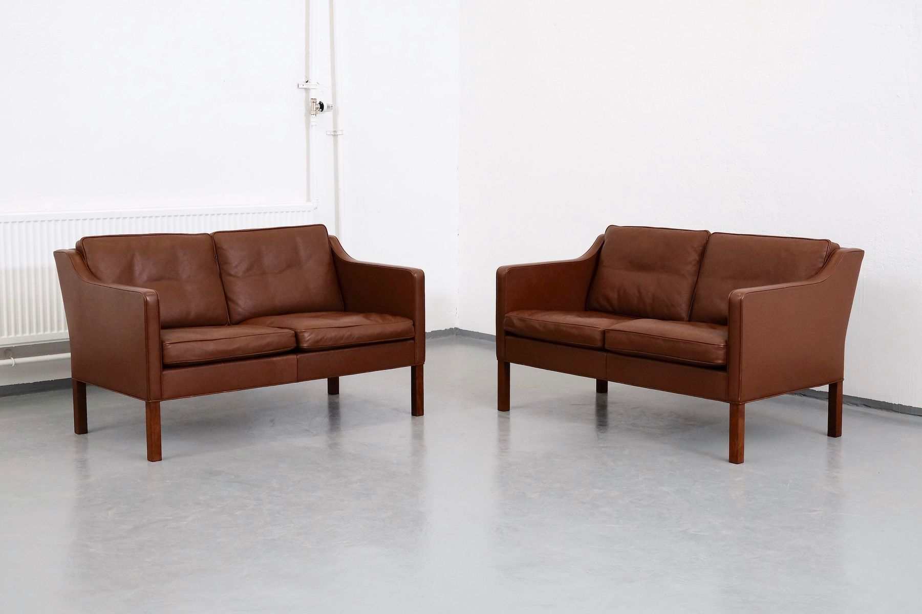 Model 2422 Brown Leather 2-Seater Sofas by Børge Mogensen for ...