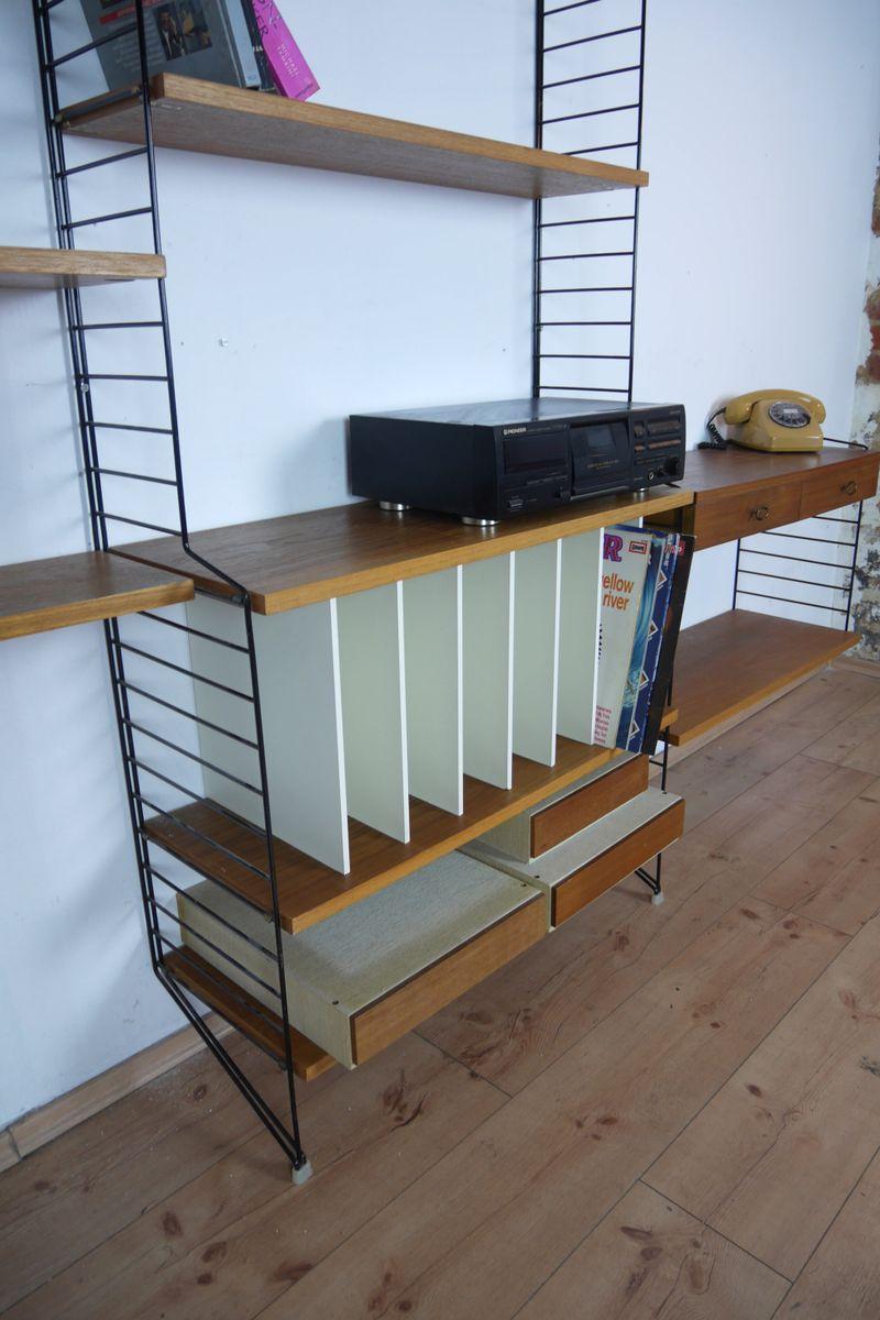 vintage teak wall unit by nisse strinning for string 1950s for sale at pamono. Black Bedroom Furniture Sets. Home Design Ideas