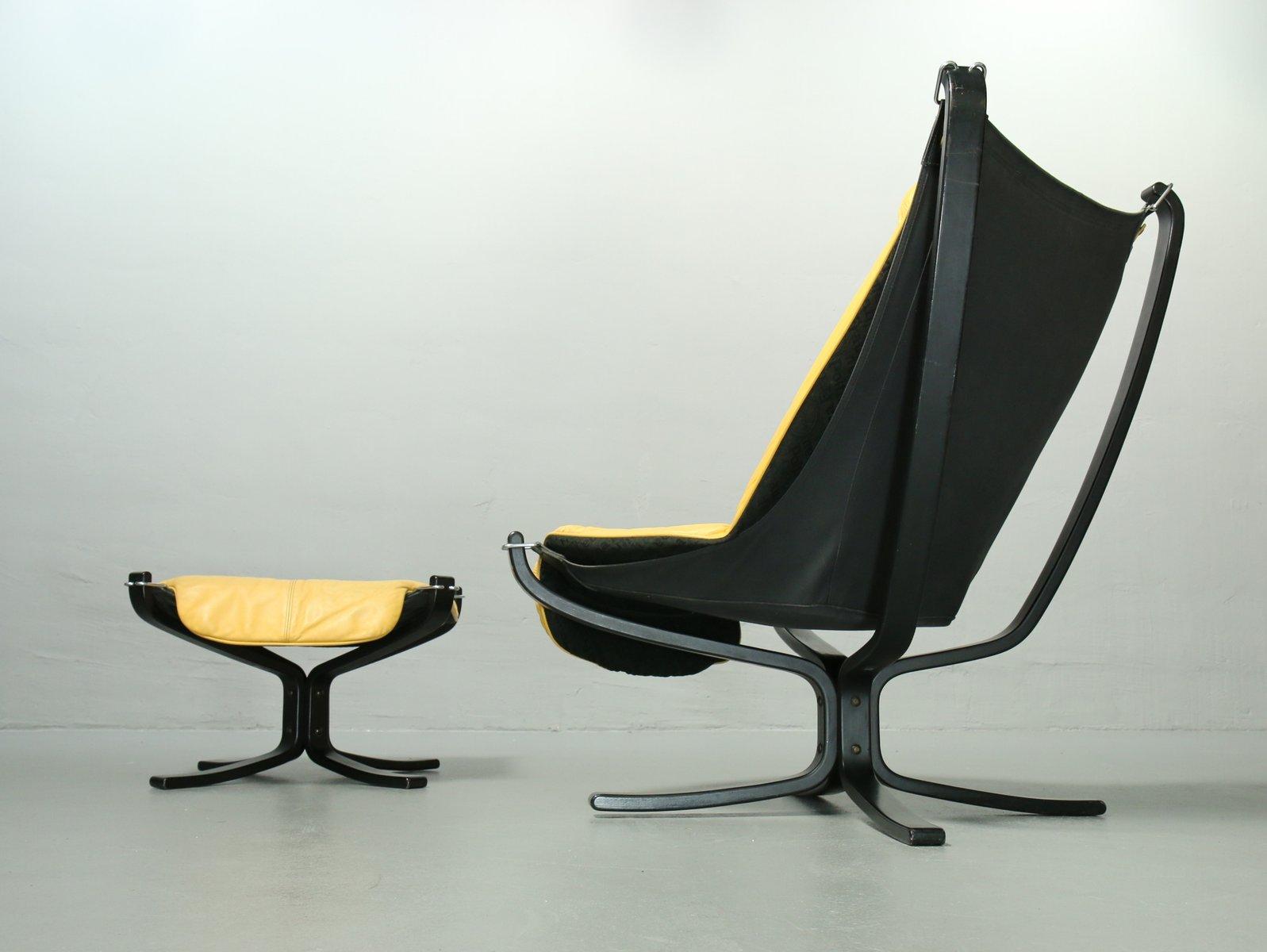 vintage stuhl fu hocker aus gelbem leder von sigurd. Black Bedroom Furniture Sets. Home Design Ideas