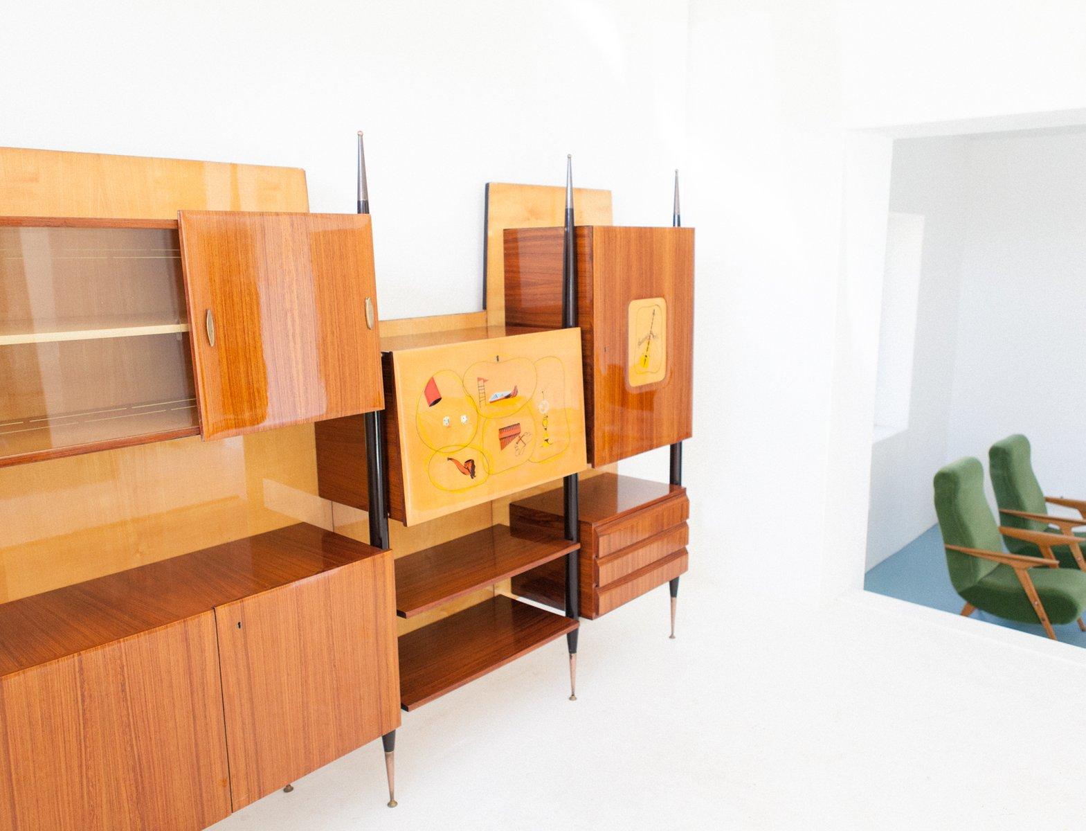 italian mid century modern brass wood wall unit bookcase. Black Bedroom Furniture Sets. Home Design Ideas
