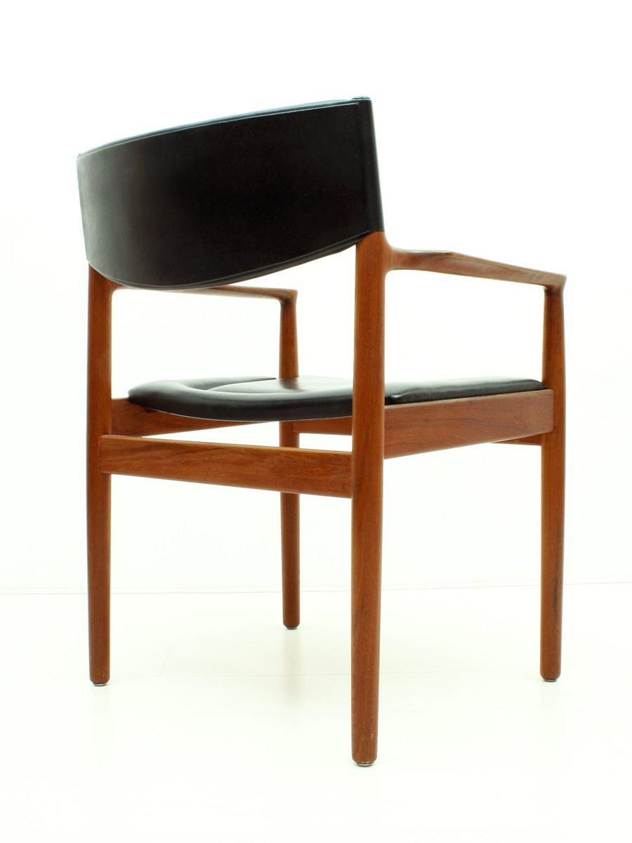 Danish Teak Amp Black Skai Armchair From Vamo S 248 Nderborg