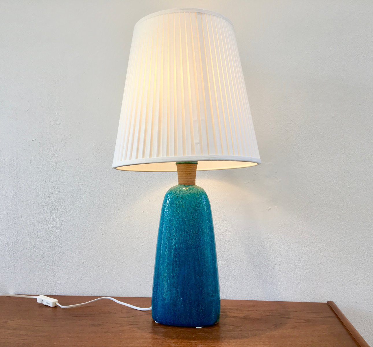 Mid Century Turquoise Table Lamp By Nils Kähler, 1950s