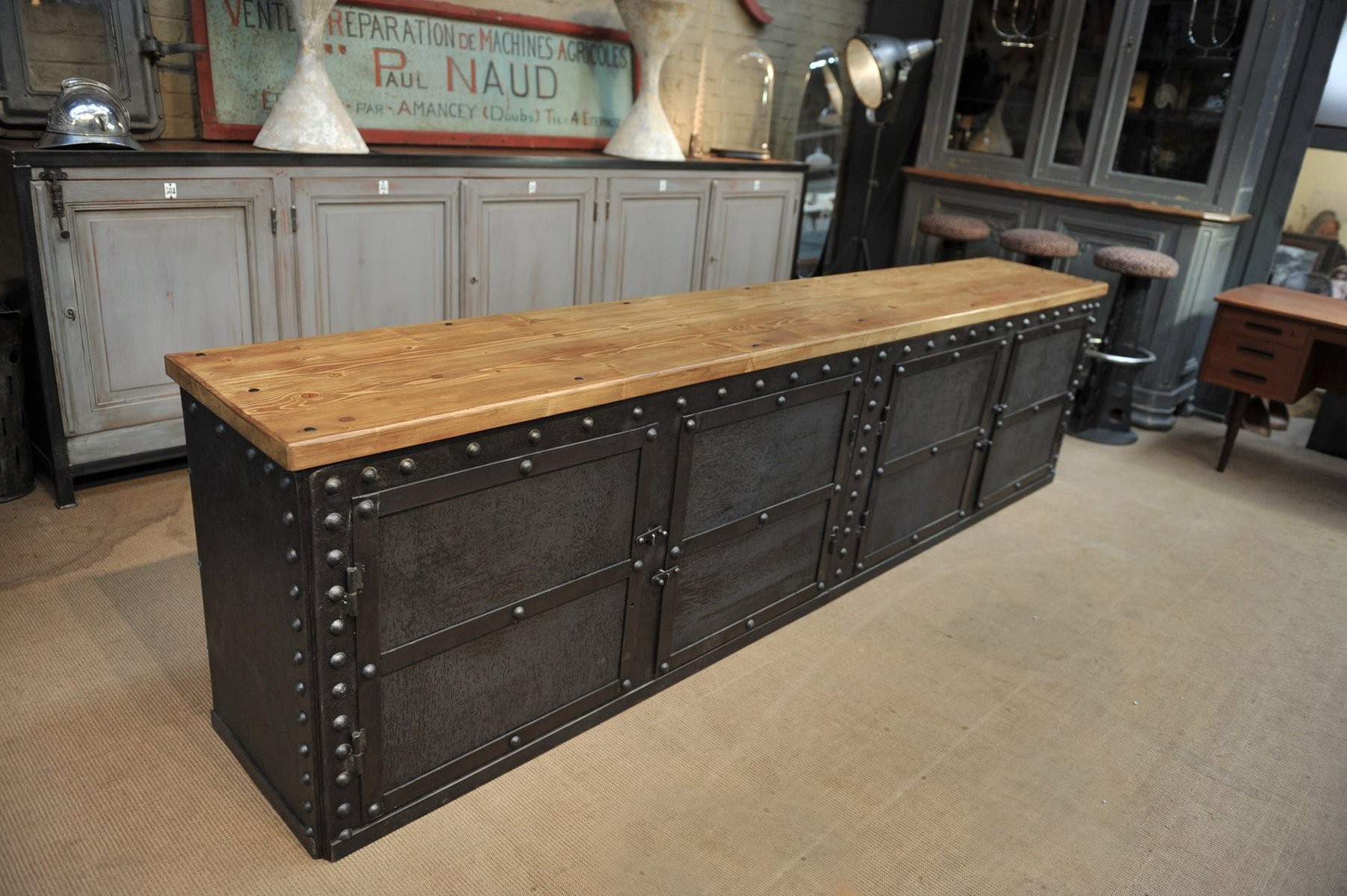 Sideboard Industrial antique riveted metal industrial sideboard 1900s for sale at