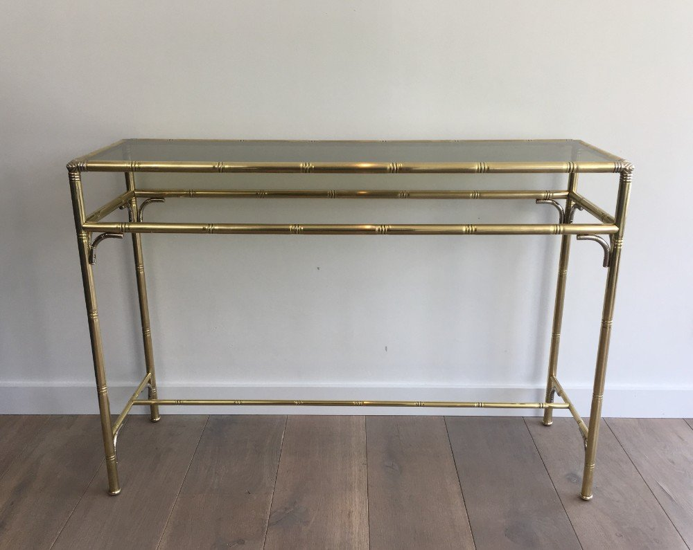 Faux bamboo brass and silvered console table with smoked glass 1970s