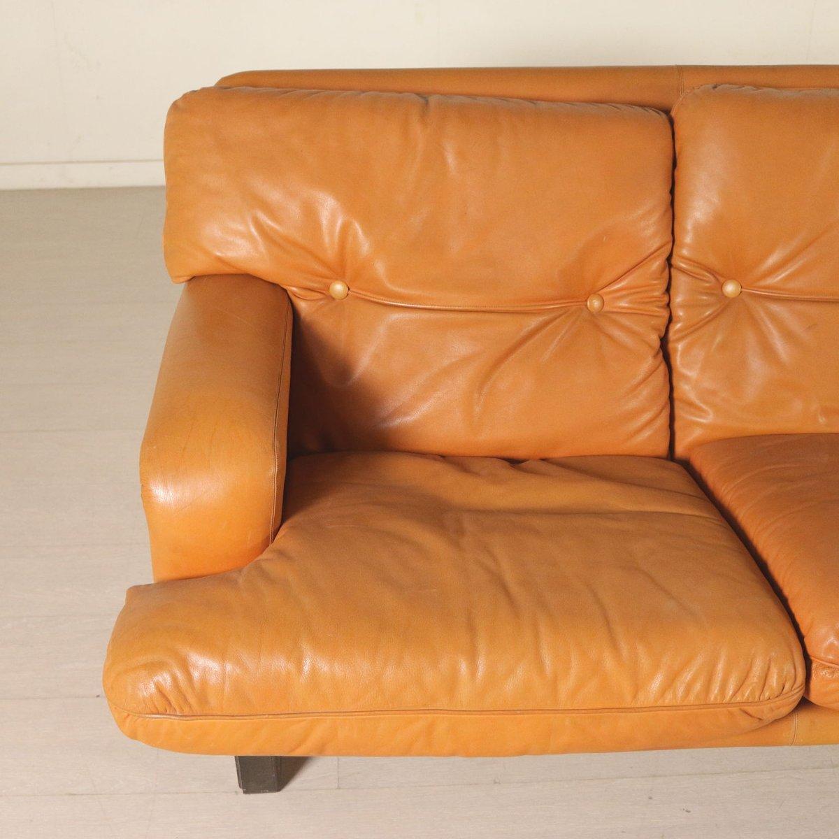 Leather foam padding sofa 1960s