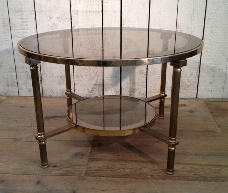 MidCentury Round Brass Glass Two Tier Coffee Table For Sale At Pamono - Round brass glass side table