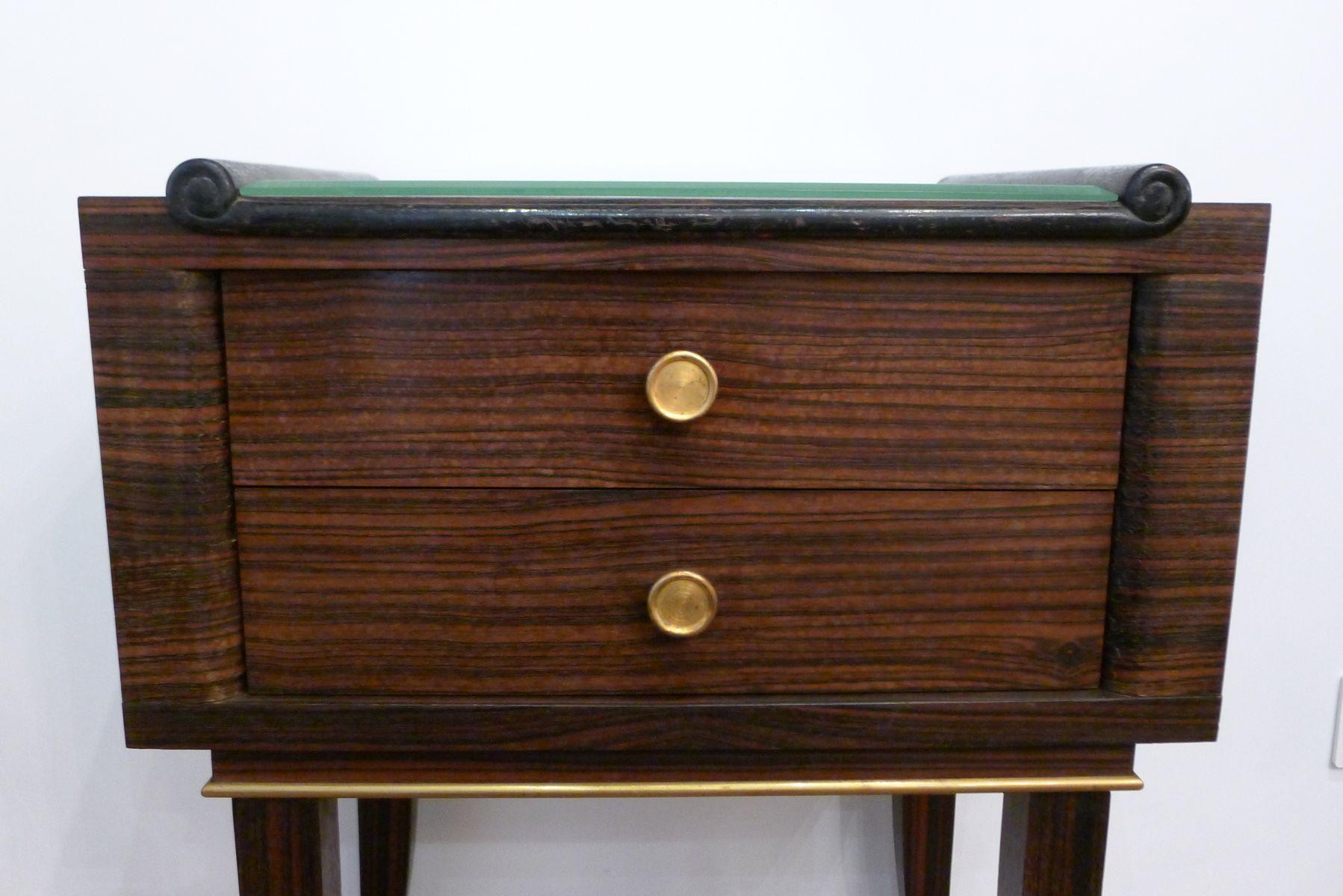 Macassar Veneered Nightstand with Two Drawers & Beveled Glass 1930s