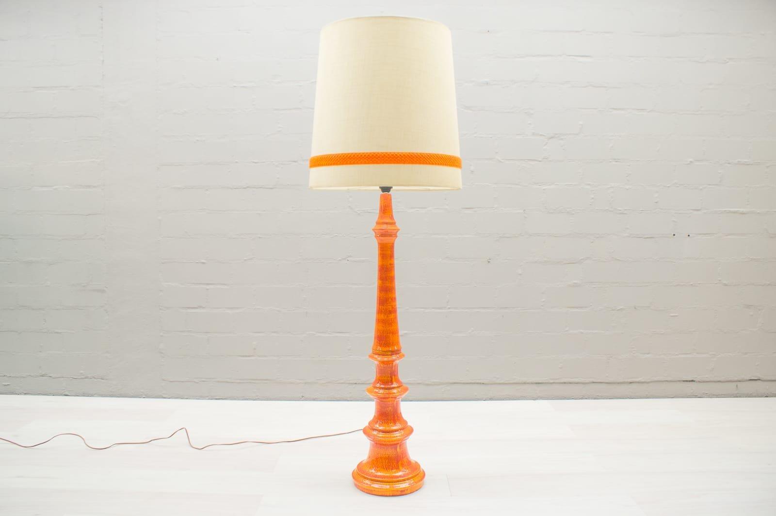 Vintage large floor lamp in orange ceramic 1960s for sale at pamono vintage large floor lamp in orange ceramic 1960s mozeypictures Images
