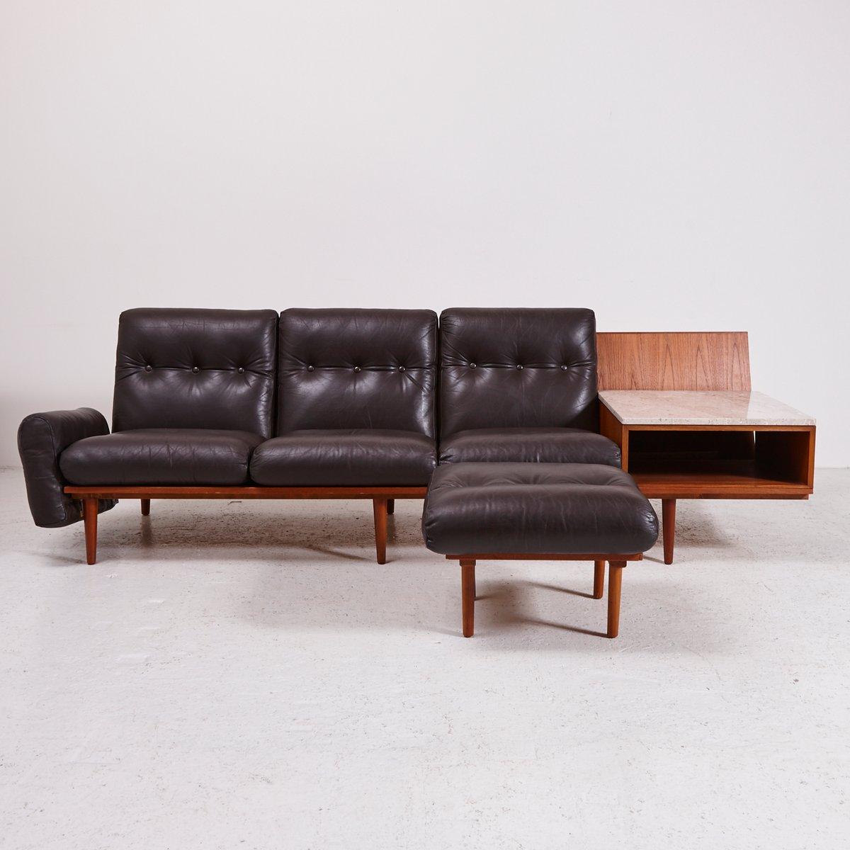 d nisches 3 sitzer ledersofa mit marmor beistelltisch 1960er bei pamono kaufen. Black Bedroom Furniture Sets. Home Design Ideas