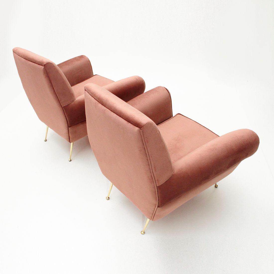 italienische rosa samt sessel 1950er 2er set bei pamono. Black Bedroom Furniture Sets. Home Design Ideas