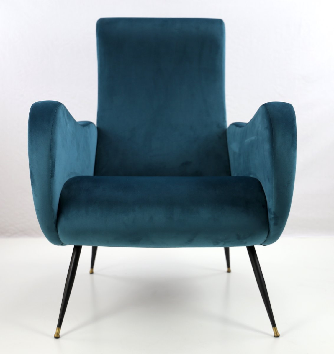 Vintage Italian Lounge Chair In Petrol Colored Velour, 1950s